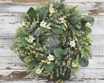 Spring Wreath, Spring Decor, Farmhouse Wreath, Magnolia Wreath, Front Door Wreath,Farmhouse Decor,Wreath, Home Decor, Summer Wreath