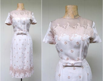 Vintage 1950s Wiggle Dress / 50s Beige Floral Embroidery Linen Dress / Small