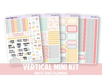 1075-WSK // Vertical 4 Piece White Space Planning Mini Kit // Dance in the Rain Collection // Planner Stickers