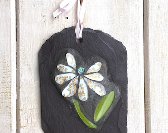 Gift for Gardener ~ Flower Mosaic on Slate Plaque ~ Mosaic for Outdoors ~ Garden Decor ~ Small Mosaic Gift ~ Gift Idea ~ Recycled Art