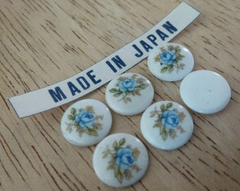 6 Vintage Japan Blue Rose 10mm Cab Cameos C29
