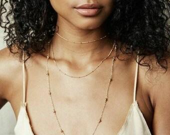 Gold Beaded Necklace, Boho Choker, Choker Necklace , Boho Jewelry, Womens Gold Necklace, Layering Necklace, Teen Girl Gift, Bohemian Jewelry