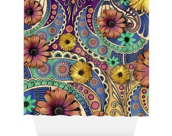 Colorful Paisley Shower Curtain - Daisy Floral Curtain - Bathroom Decor - Petals and Paisley Art by Artist Christopher Beikmann