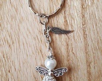 Angel winged Key Pendant Angels rhinestones Shamballa White