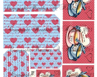 Dollar download Shabby Vintage Retro chic Valentine's Day Cute Tags Digital Collage sheet Tea Cups