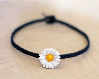 Daisy Hemp Choker Necklace - Festival Boho Jewelry
