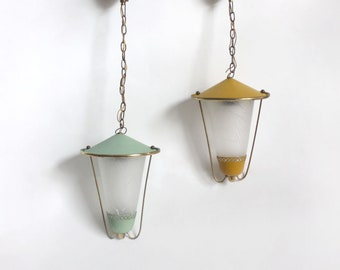 Pair green orange 1950s pendant lights. Frosted glass, plastic, brass . Midcentury Modern hallway bedroom ceiling lamps/ lanterns
