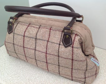 Spring Sale Event - Now 10% Discount - Handmade Mary Poppins style Handbag in Gorgeous Wool Fabric with Fabric Leather Handles,