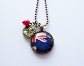 Australian Flag - Pendant Necklace - You Choose Bead and Charm - Patriotic Jewelry - Custom Jewelry - Travel Necklace - Blue Red and White