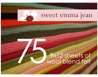 FELT - Wool Felt Sheets - Choose Any Seventy-Five (75) - Wool Blend Felt