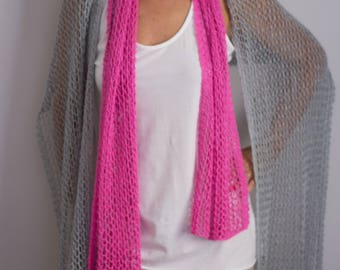 Two-needle hand knitted yarn scarf