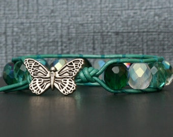 butterfly jewelry - bohemian jewelry - mixed green crystal on teal leather single wrap bracelet - boho glam