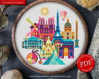 Paris Cross Stitch Pattern for Instant Download *P137 | Easy Cross Stitch| Counted Cross Stitch|Embroidery Design| City Cross Stitch