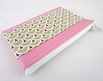 Wallet pink faux leather and fabric pattern golden fan