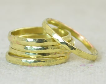 Thick Stackable Brass Ring(s), Brass Rings, Stackable Rings, Brass Ring, Hammered Brass, Brass Band, Arthritis Ring, Brass Jewelry