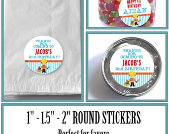 """1"""", 1.5"""" or 2""""  Stickers, Labels, Favor Stickers, Construction Worker, Builder, Traffic Cone, Red, Blue, Yellow, Baby Shower, Birthday"""
