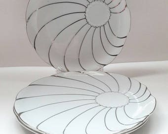 Silver Swirls Vintage Snack Trays by Yamaka Set of 3 Replacement Luncheon Plates Made in Japan