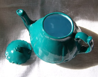 Adorable Little Blue-Green Personal Teapot with pretty light blue interior