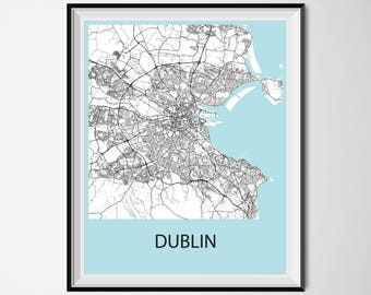 Dublin Map Poster Print - Black and White