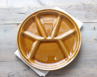 Set 4 - Gien of France Fondue - Party Plates - Stoneware - Earthenware - Sectioned Plates