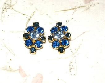 Three Tone Blue Rhinestone Earrings Made in Austria Brass
