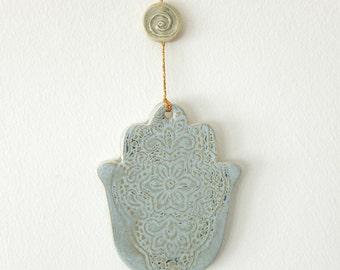 Hamsa Hand of Fatima, Ceramic Wall Hanging, Ceramic Home Decor, Good Luck Decor, Evil Eye, Gray Ceramic Decor, Lucy Charm, Judaica Décor
