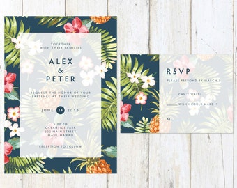Destination Wedding Invitation, Tropical Wedding Invitation, Palm Leaves Wedding