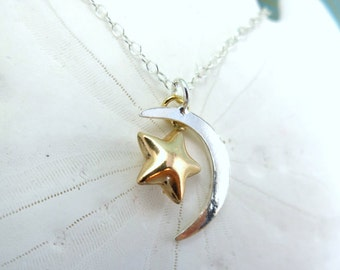 Sterling silver crescent moon gold star necklace, anniversary gift crescent moon star necklace, silver and gold moon necklace