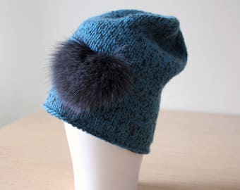 Slouchy beanie with fur heart, Cashmere merino wool hand knit beanie, Fur pom pom, Blue Teal Black, Merino wool hat, Boho, Slouchy hat