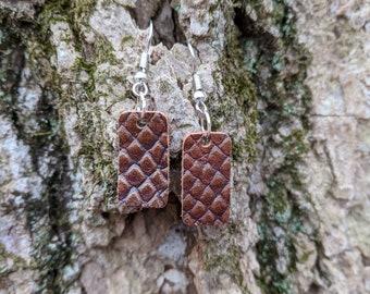 Handmade Italian Leather Rectangle Earrings - Dragon Scale Rectangle