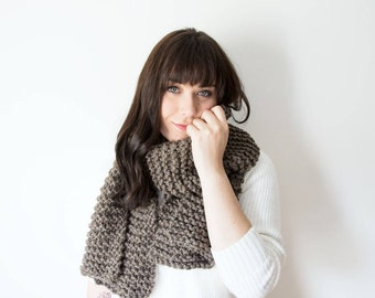 Knit Scarf Chunky Infinity Brown Cowl in *Hickory* - The 'RIDEAU' Chunky Knitted Straight Scarf