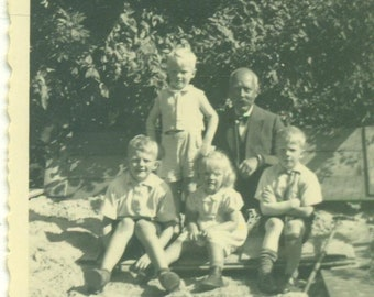 1930s Papa With The Grandchildren In Sandbox Blonde Boys Girls Vintage Photograph Black White Sepia Photo