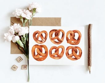 Pretzels Line Up for the Love of Bread Greeting Card
