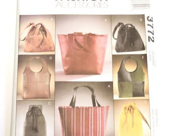 McCalls 3772 Lined Bags Sewing Pattern, Handbag, Purse, Backpack, Drawstring Bag, Grocery Market Tote Shopping Bag, Uncut itsyourcountry