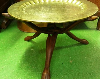 Vintage Indian Lions hunting Deer Engraved Brass Tray Tripod Table