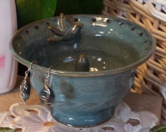 Ceramic Jewelry Bowl Ring Dish Earring Tree Holder Organizer Blue Bird Wheel Thrown Ceramic Handmade to Order OOAK Great Gift Idea for Her!