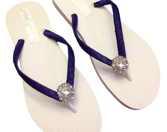 Navy Blue Bridesmaid Flip Flops - Bridal Flip Flops - Rhinestone Flip Flops - Beach Wedding - Navy Blue Wedding - 30 Colors Available