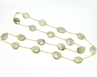 44 gm Rutile Necklace Rutile Gemstone Chain Necklace Rutilated quartz Necklace Gold Plated Solid Silver Rutile Long Necklace Faceted Stones