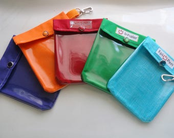 Small 4x5 Ouch Pouch, Inhaler Holder or Epi Pen Case Clear Front with Optional Clip and Label. Your Choice Solid Color