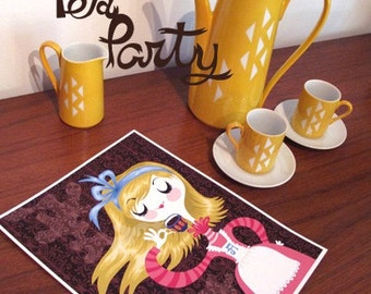 tea time... limited edition giclee print of an original illustration (8.5 x 11)