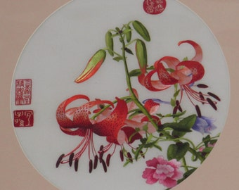 Vintage flowers Chinese Suzhou handmade silk embroidery painting wall decor