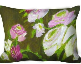 Decorative throw pillow olive and pink roses white roses