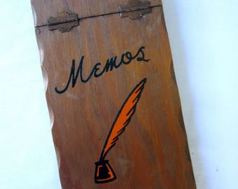 Memo Pad Wood Vintage Quill Pen Notepad Notebook Stocking Stuffer