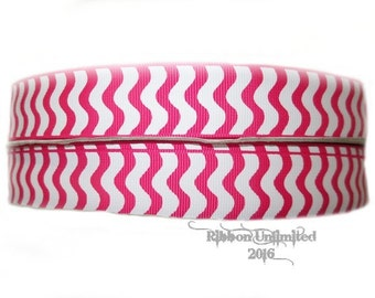 10 Yds WHOLESALE 7/8 Inch SHoCKiNG PiNK WaVY Stripes grosgrain ribbon LOW Shipping