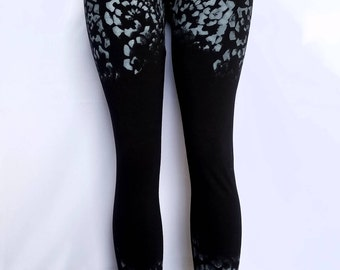 Hand Painted Floral Print Leggings