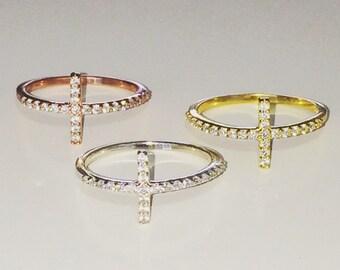 Cross Rings With Beautiful Cubic Zirconia Ready For Cute Fingers • Waterproof