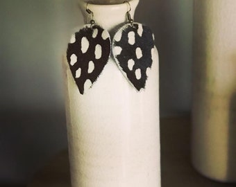Leather Earrings with hair