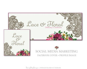 Facebook Cover,Profile Image,Social Media Marketing-Lace,Floral-Burgundy,Taupe-Facebook Storefront
