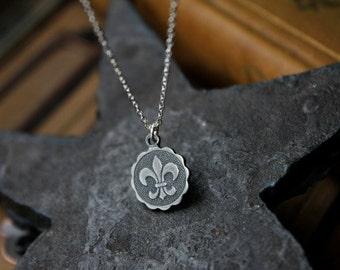 Dainty Sterling Silver Fleur de Lis Necklace