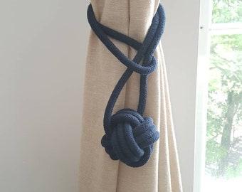 Cotton cord Monkey Fist Knot Tie-backs / Nautical curtain tiebacks/ navy blue hold-backs / curtain ties / ball curtain tie-backs / navy